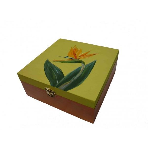 Bo te th bois 4 compartiments la fleur bec de perroquet - Boite a bec ...