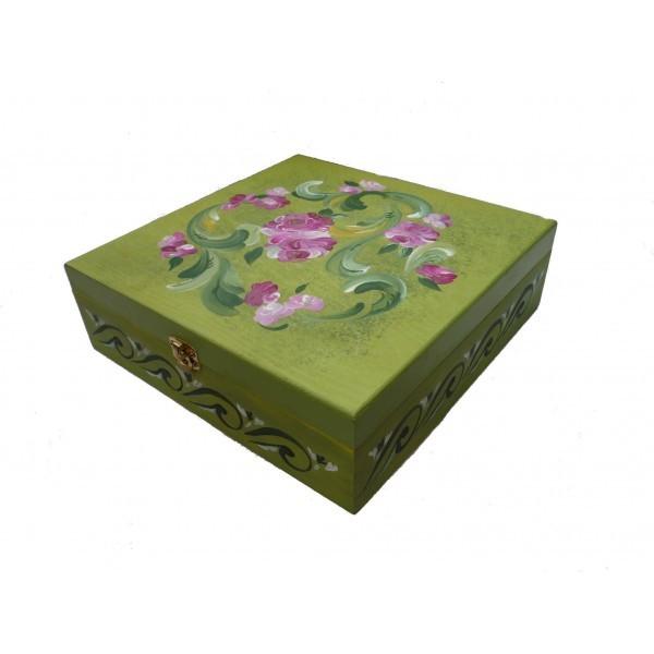 Bo te th bois 9 compartiments peinte de fleurs en rosemaling sur fond vert - Boite a the 9 compartiments ...