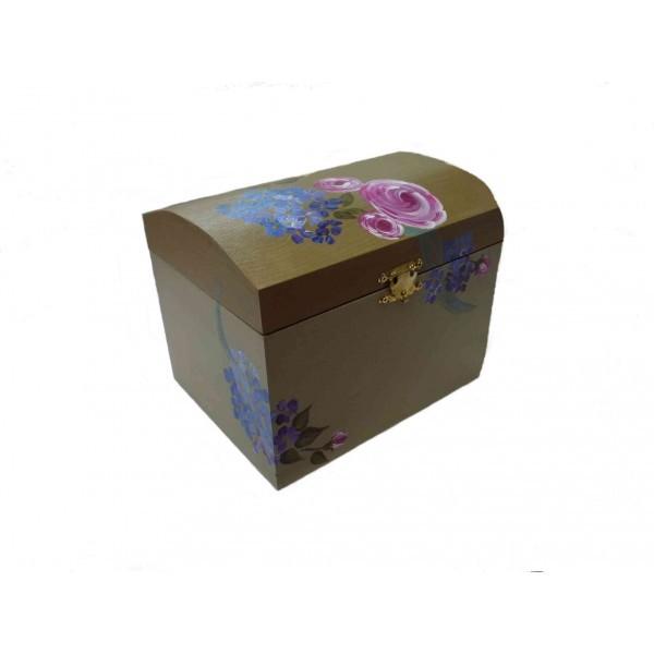 petite bo te malle en bois aux roses et bleuets peintes. Black Bedroom Furniture Sets. Home Design Ideas