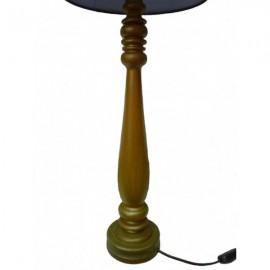 Lampe Au Pied Bois Tourne Bronze Abat Jour Conique