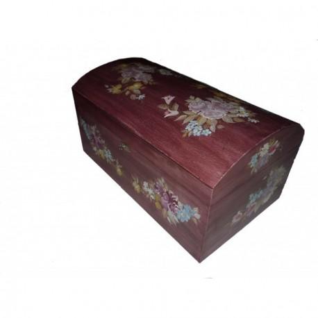 Grand coffre bois d coration peinture biedermeier sur fond - Peinture decorative sur bois et metal ...