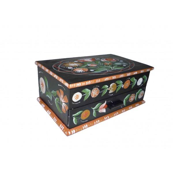 bo te bois rangement couture ou bijoux peinture paysanne sur fond noir. Black Bedroom Furniture Sets. Home Design Ideas