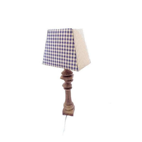Lampe Au Pied Bois Tourne Et Abat Jour 4 Pans Et 4 Tissus