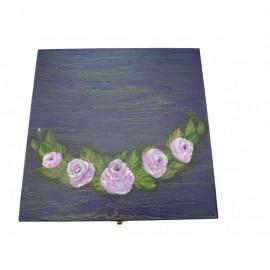 Bo te th bois 9 compartiments aux roses sur fond craquel - Boite a the 9 compartiments ...