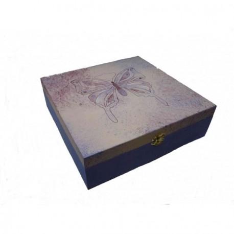 Bo te th bois 9 compartiments au papillon peint sur fond travaill l 39 ponge - Boite a the 9 compartiments ...